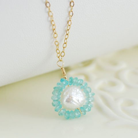 Druzy,Pearl,Necklace,Circled,in,Apatite,Jewelry,Wire_Wrapped,freshwater_pearl,gold_filled,gemstone,semiprecious,genuine,pretty,apatite,bright,aqua,rosebud,druzy,jewellery,semi_precious,gold_fill,rosebud_freshwater_pearl,druzy_pearl
