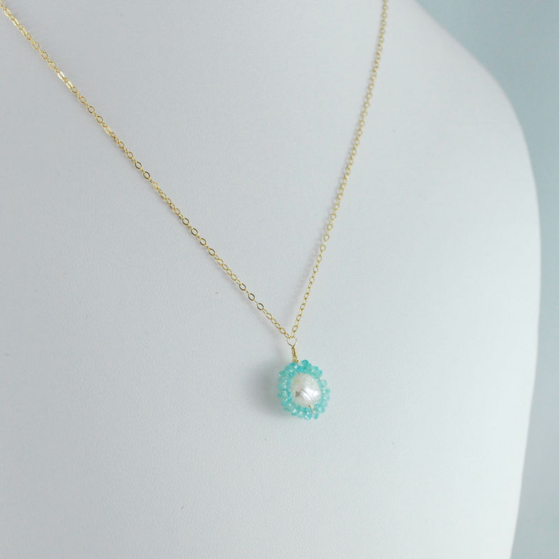Druzy Pearl Necklace Circled in Apatite - product images  of