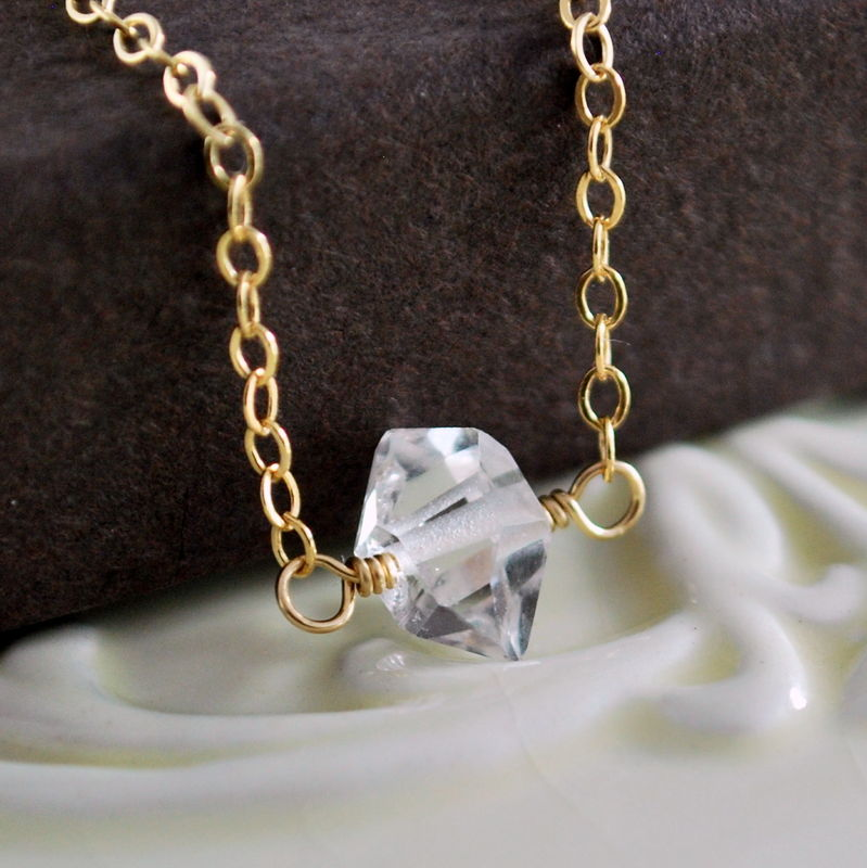 Herkimer Diamond Choker in Gold - product images  of