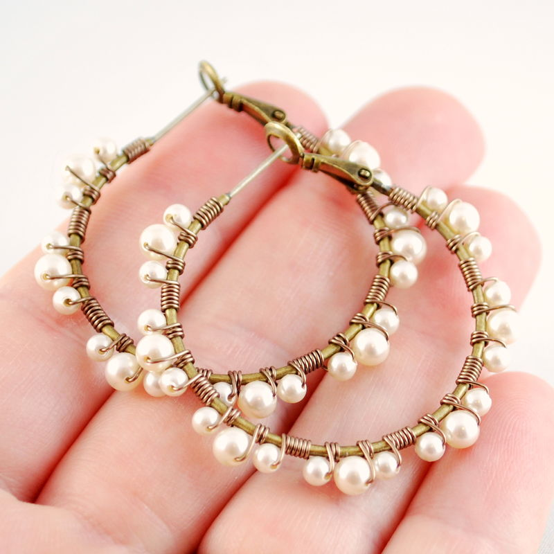 Pearl Lace Hoops, Ivory Swarovski Beads, Antiqued Brass, Wire Wrapped Feminine Earrings - product images  of