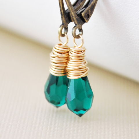 Emerald,Green,Crystal,Earrings,Genuine,Swarovski,Mixed,Metal,Jewelry,jewelry, jewellery, earrings, Swarovski, crystal, mixed metal, gold, antiqued brass, bronze, lever, leverback, wire wrapped, emerald green, drop