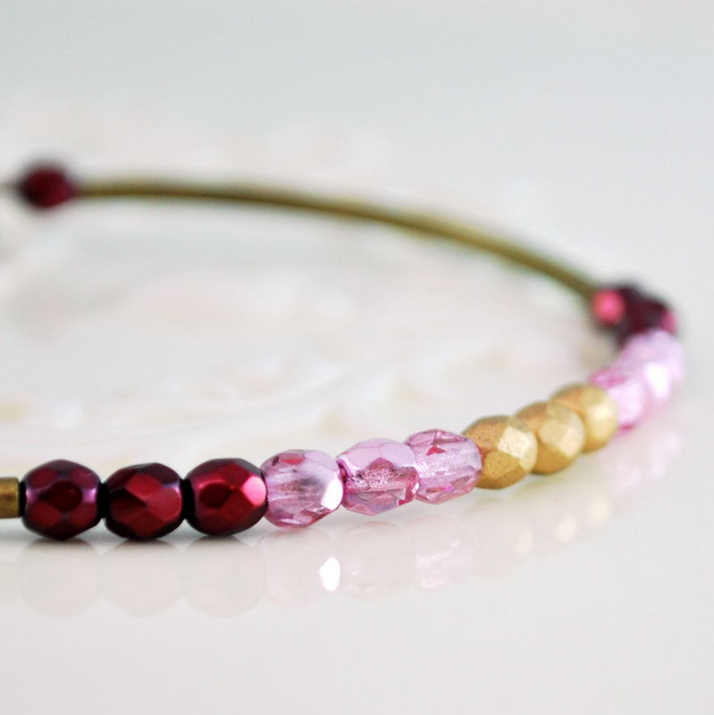 Pink Red and Gold Czech Glass Bangle in Antiqued Brass - product images  of