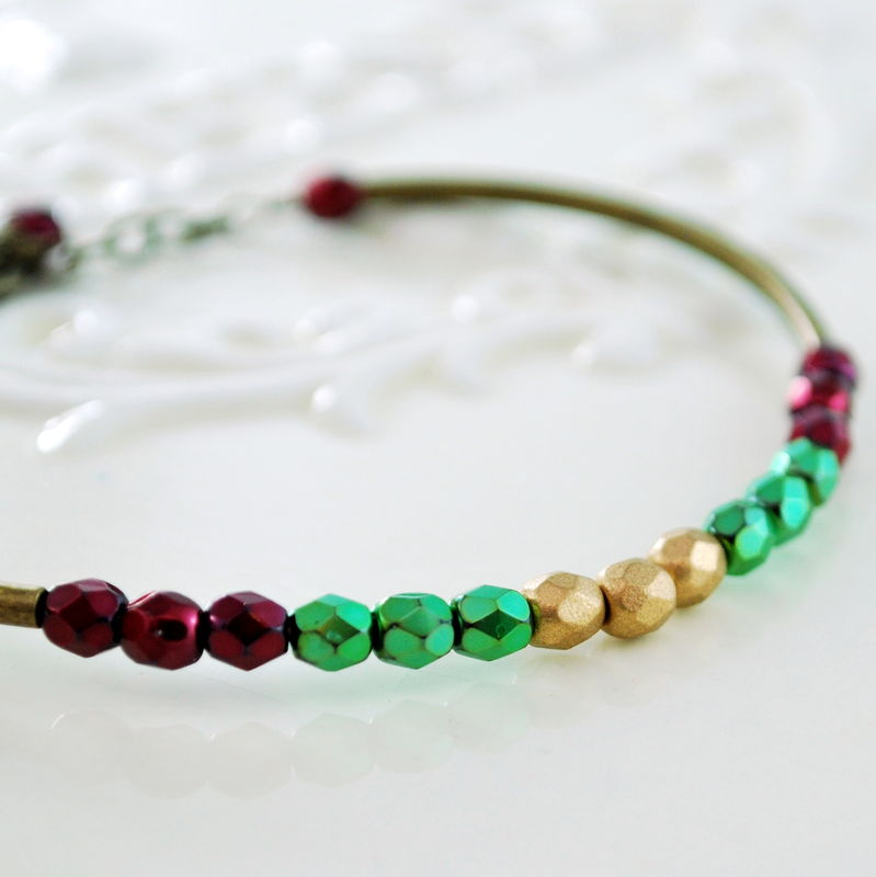 Holiday Bangle Antiqued Brass Jewelry with Dark Red Green Matte Gold Beads - product images  of