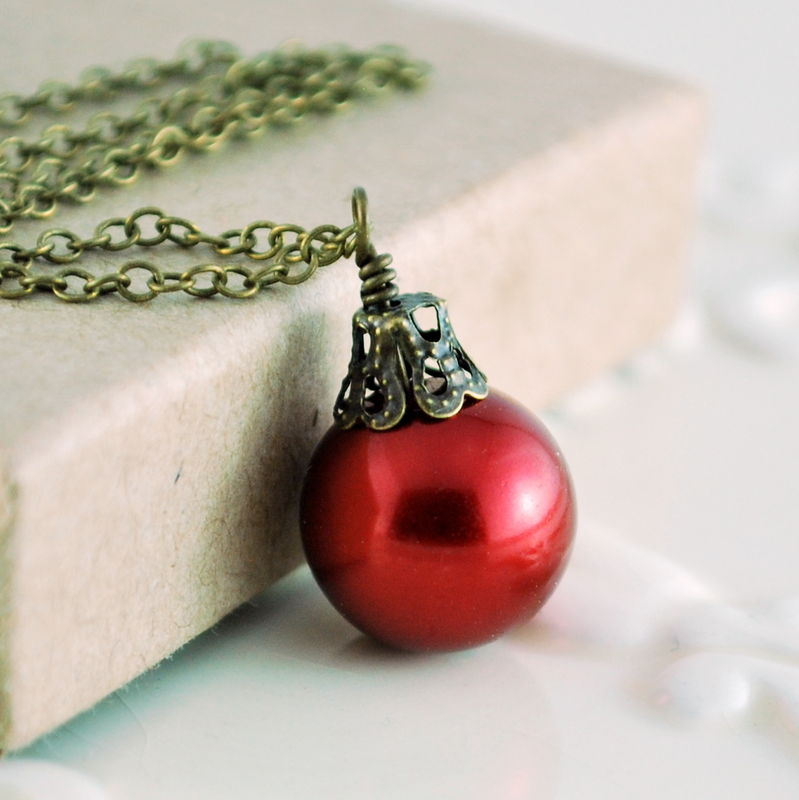 Dark Red Christmas Necklace Antiqued Brass Jewelry - product images  of