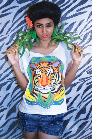 Tropical,Tiger,Crop,T-Shirt,tiger, tropical, summer, style, crop, oversized, t-shirt, Illustrated, Dazzle, Jungle, Dazzle and Jolt, Geometric, Fashion