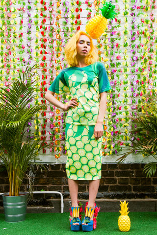 The,Big,Pineapple,Skirt, skirt, pencil skirt, fruit, print, pineapple print, dazzle and jolt, summer, fashion, co-ord, tropical, tropicanaval, festival, London fashion, independent designers