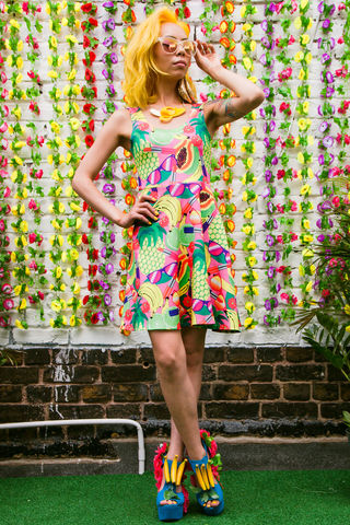 Fruity,Patootie,Skater,Dress, skater dress, dazzle and jolt, fruit, fruity, pineapple, print, womenswear, summer, festival fashion, London fashion, independent designers