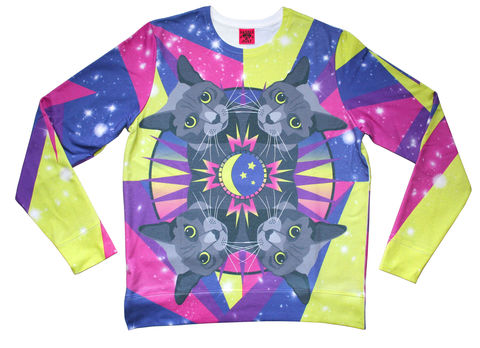 Cosmic,Cat,Sweater,cat, cats, sweater, jumper, cosmic, space, print, dazzle and jolt, London, fashion, festival, menswear, womenswear, independent, design, colourful