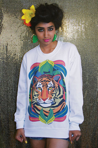 Eye,of,the,Tiger,Sweatshirt, Tiger, Jumper, Illustrated, Dazzle, Jungle, Geometric, Fashion