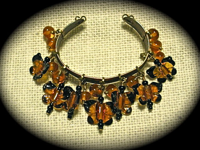 Lampworked Glass & Copper Monarch Butterfly Bracelet - product images  of