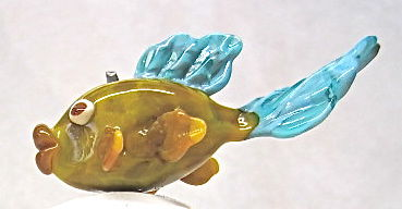 Handmade Hollow Glass Fish Focal Bead - product images  of