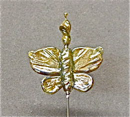 Golden,Glass,Butterfly,Stick,Pin,Stickpin, Glass, Butterfly
