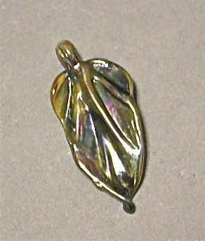 Irridescent Glass Leaf Pendant Bead - product images  of