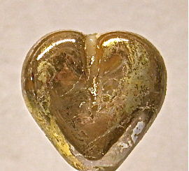 Lampworked,Glass,Golden,Heart,Bead,Lampworked Glass, Golden Heart Bead, Handmade