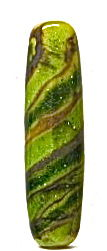 Lampworked,Swirled,Green,and,Gold,Long,Bead