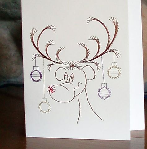 Christmas,Card,-,Reindeer,Hand,Embroidered,Holidays,reindeer,greeting_card,unique,decoration,embroidered,stationary,card_stock,hand_embroidered,vellum,envelope,christmas,everyone,white,metallic_thread