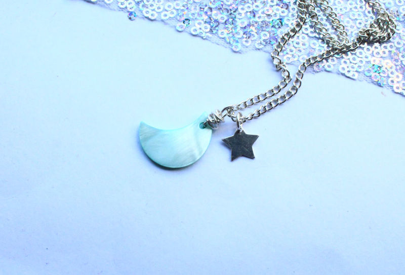 Moon and Star Silver Necklace  - product image