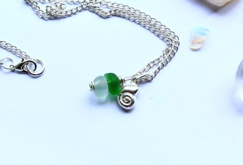 Nautical Silver and Sea Glass Necklace - product image