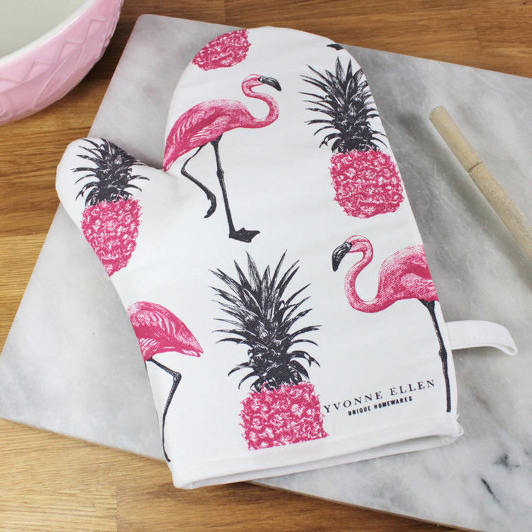 Flamingo and Pineapple Oven Glove