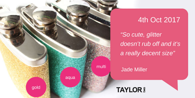 Glitter Hip Flasks In Four Different Colours