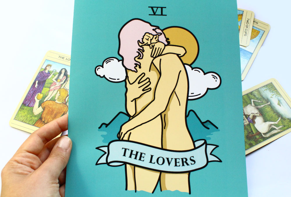 The Lovers Tarot Card Art Print and Greeting Card