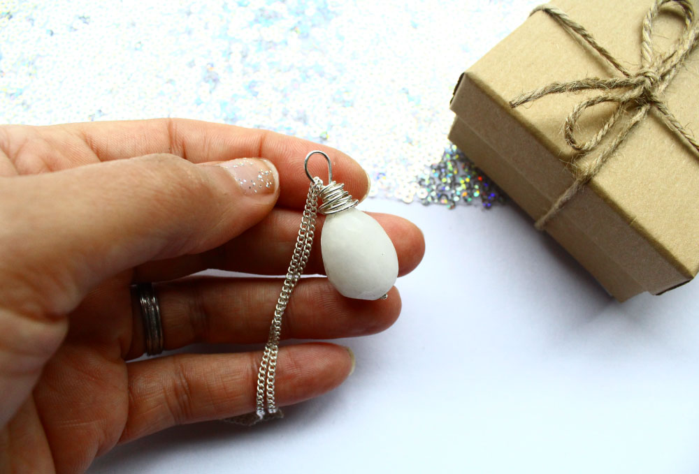 White Agate Necklace With Sterling Silver