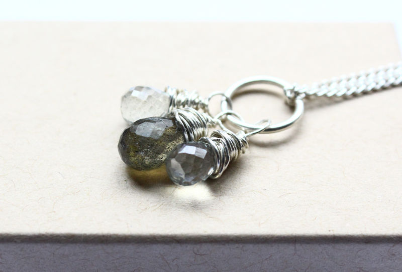 Gemstone Trio Silver Necklace - product image