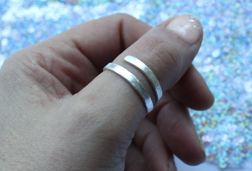 Hammered Silver Adjustable Wraparound Ring