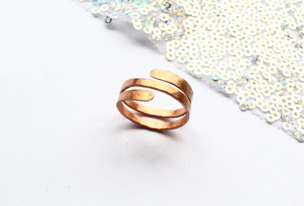 Copper hammered ring handmade