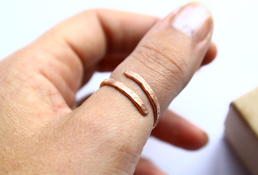 Handmade copper thumb ring hammered