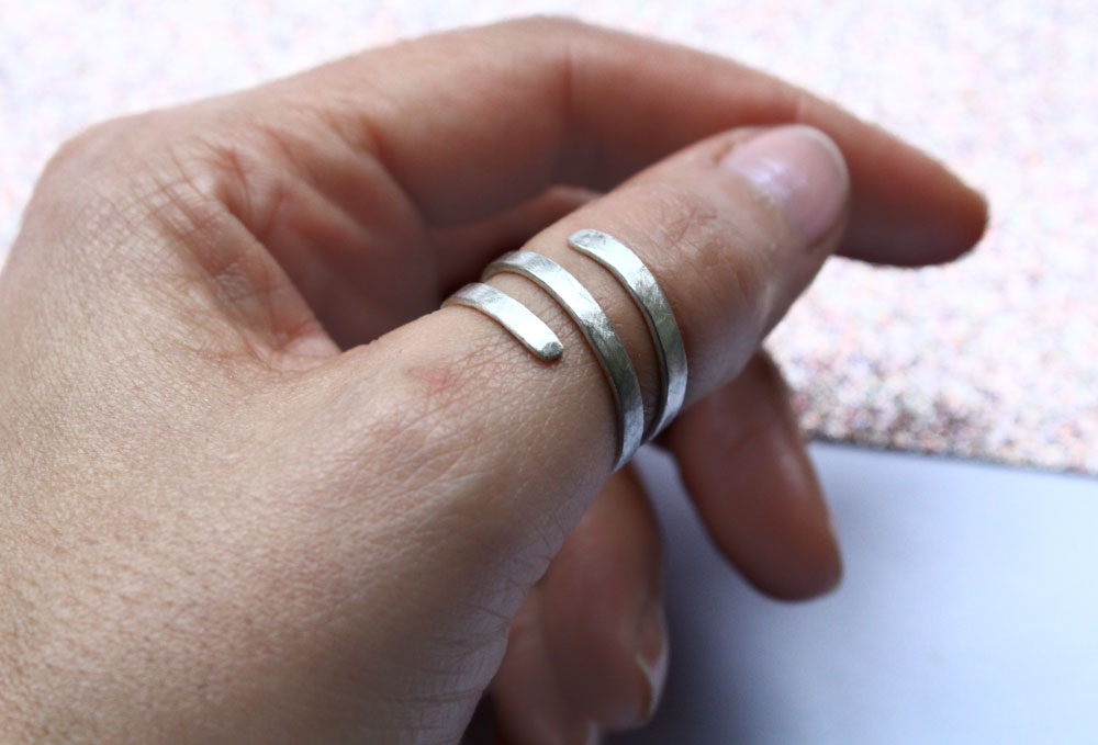 Hammered Sterling Silver Ring 925