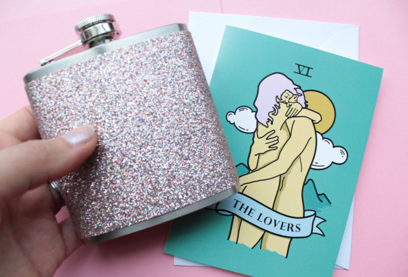 glitter hip flask with tarot card