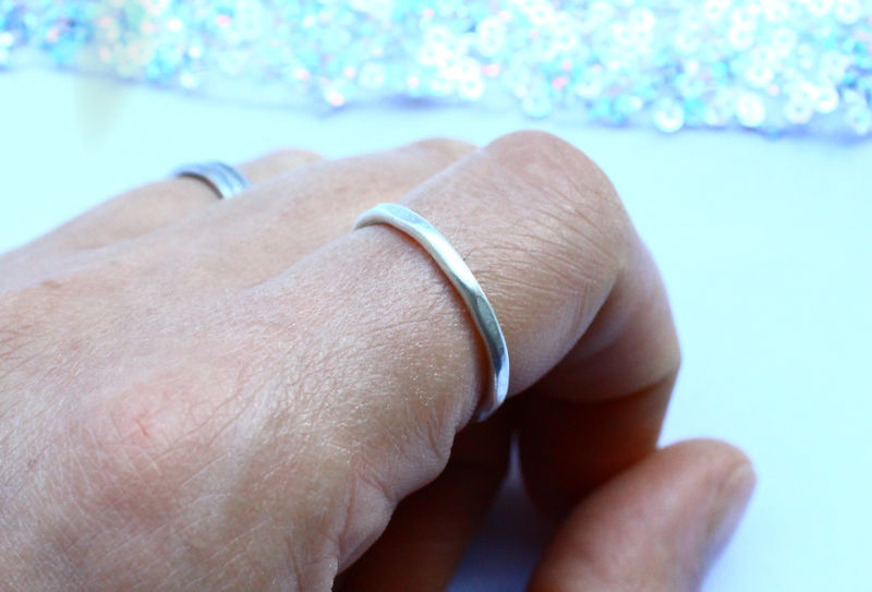 Hammered Minimalist Sterling Silver Ring - product image