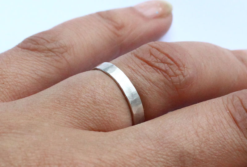 Hammered Silver Minimalist Ring - product image