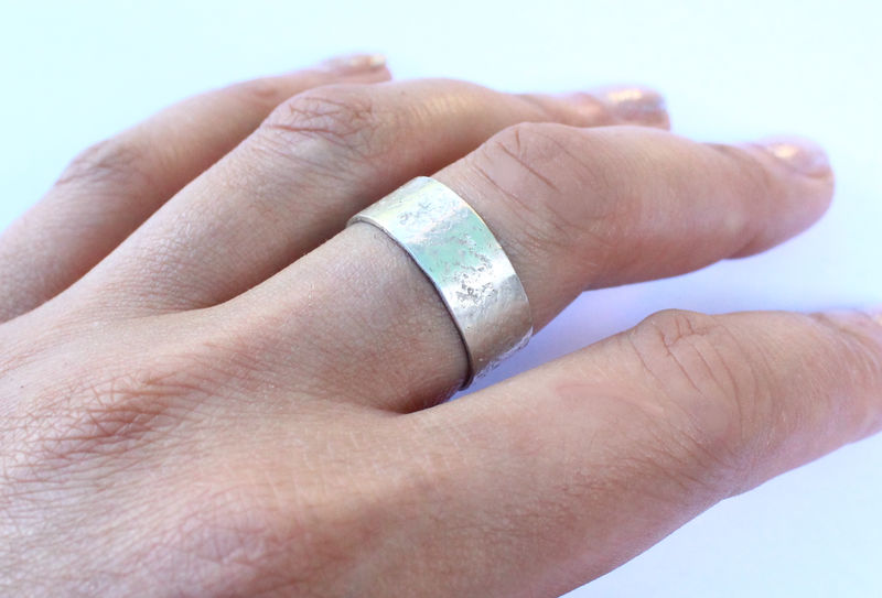 Concrete Pattern Silver Cuff Ring - product image