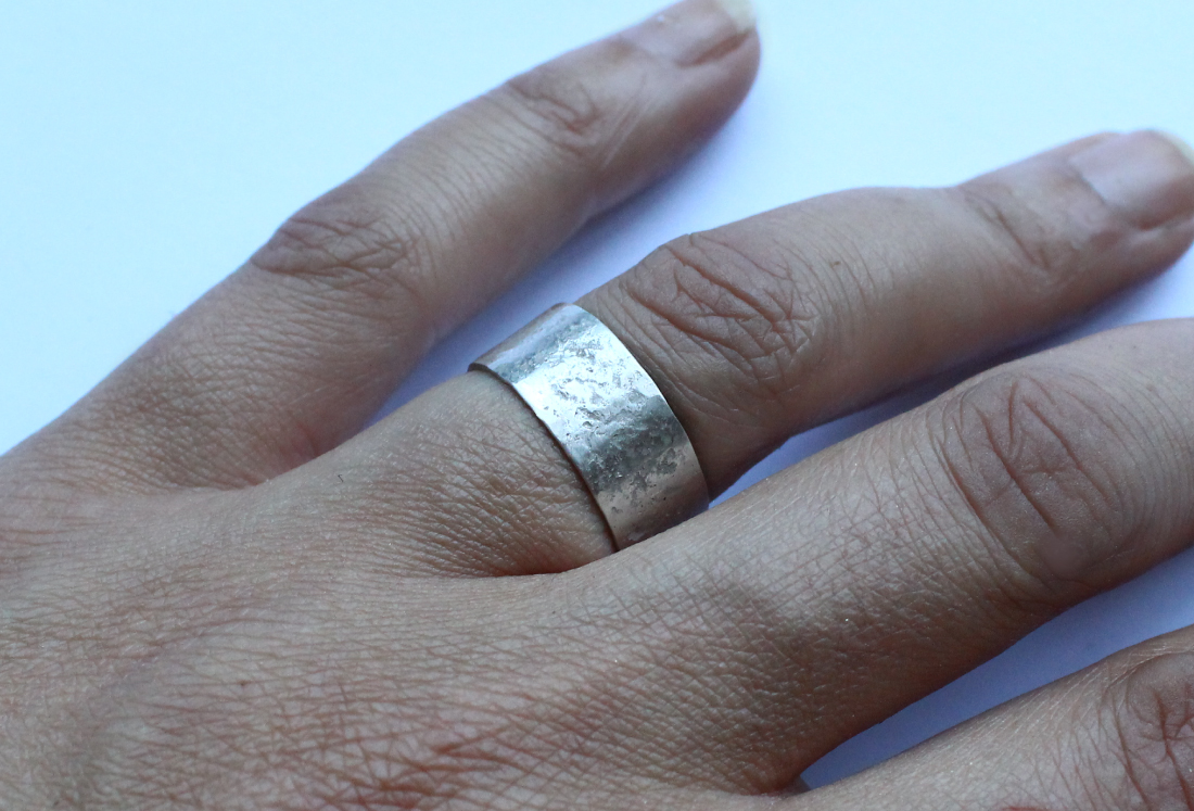 Concrete Patterned Cuff Ring For Men Or Women