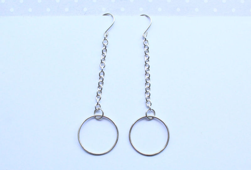 Long Chain Hoop Silver Earrings - product image