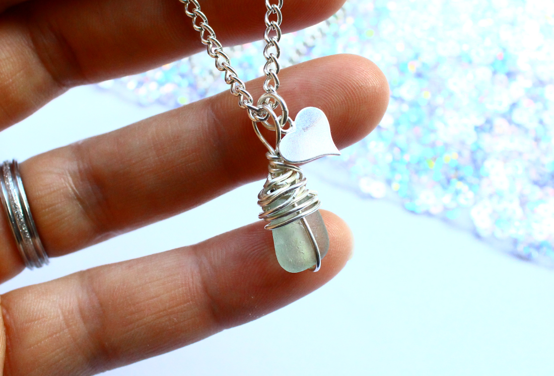 Sterling Silver Seaglass and Heart Necklace