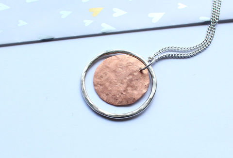 Blood,Moon,Silver,And,Copper,Pendant,full moon, hoop, pendant, witch, wicca, lunar, necklace, classic, 925 sterling, jewellery, jewelry, solid silver, gift for her, anniversary gift, valentines gift