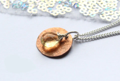 Boho,Copper,Silver,Citrine,Gemstone,Necklace,hammered, pendant, hammered copper, coin, boho, hippie, gemstone, citrine, necklace, classic, 925 sterling, jewellery, jewelry, solid silver, gift for her, anniversary gift, valentines gift