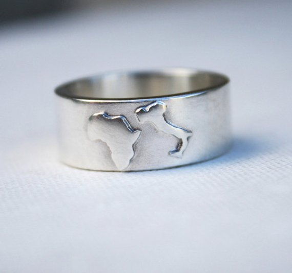 Country map sterling silver ring