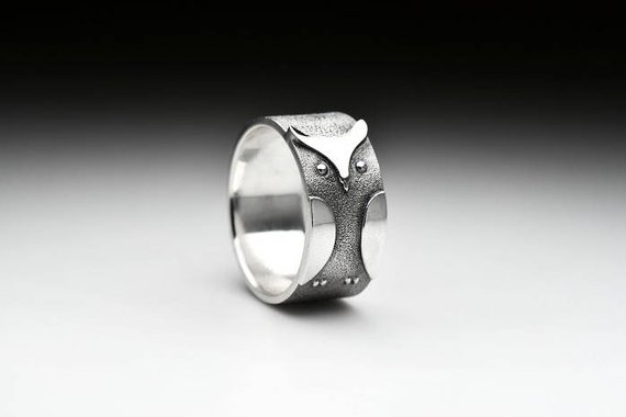 Owl ring in sterling silver engraved