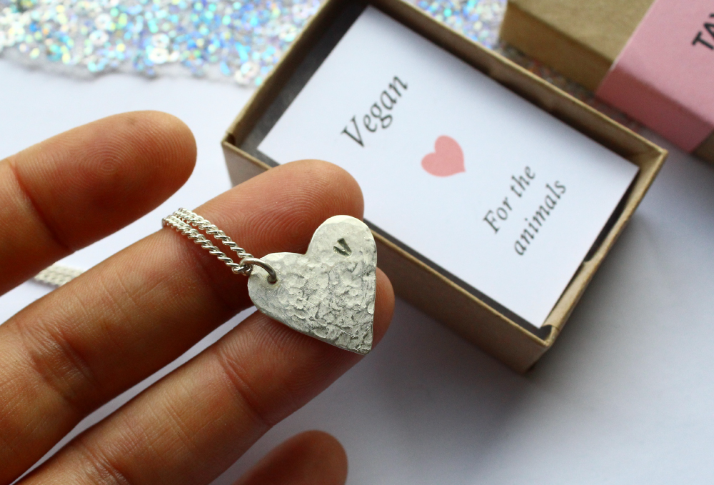 Silver Heart Necklace For Vegan Animal Lovers