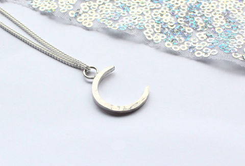 Silver,Crescent,Moon,Pendant,crescent, full, moon, hoop, pendant, witch, wicca, lunar, necklace, classic, 925 sterling, jewellery, jewelry, solid silver, gift for her, anniversary gift, valentines gift