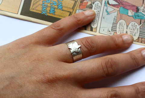 Sterling,Silver,Star,Ring,DC,Comics,Cosplay,star ring, sterling silver, 925, cosplay, hammered, wonder woman, dc comics, captain america, universe, comic con, cosplay jewellery, jewelry, adjustable ring, cuff ring, cosplay jewelry
