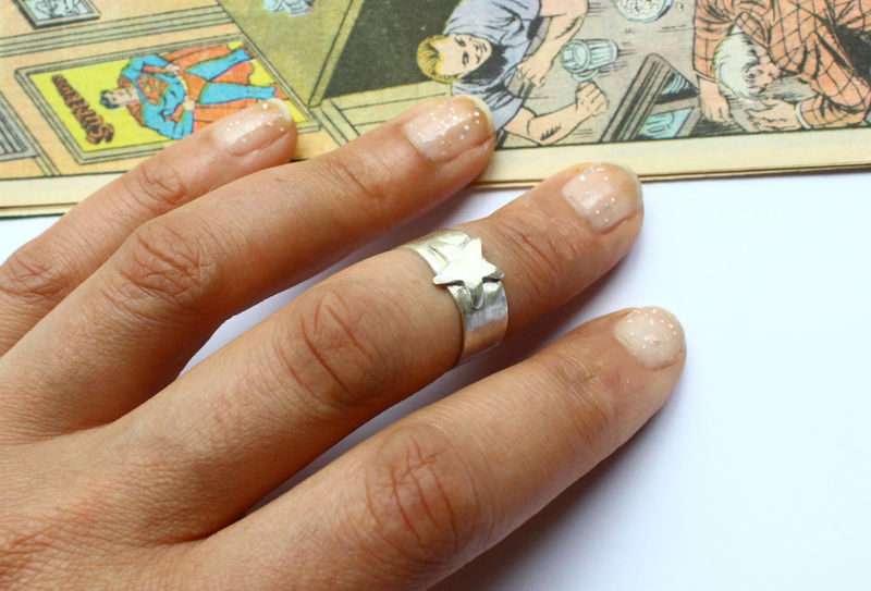 Sterling Silver Star Ring DC Comics Cosplay  - product image