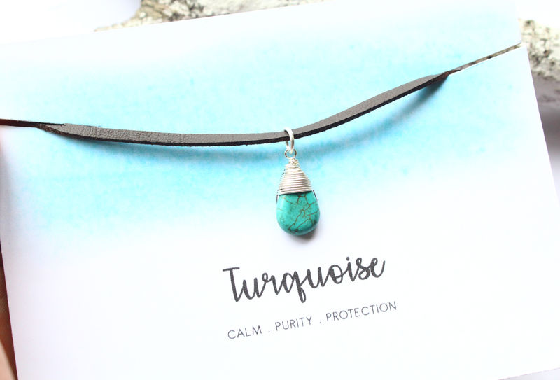 Turquoise Gemstone Leather Pendant - product image