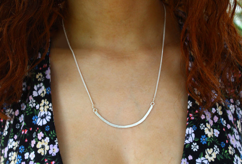 Minamalist Silver Arc Necklace - product image