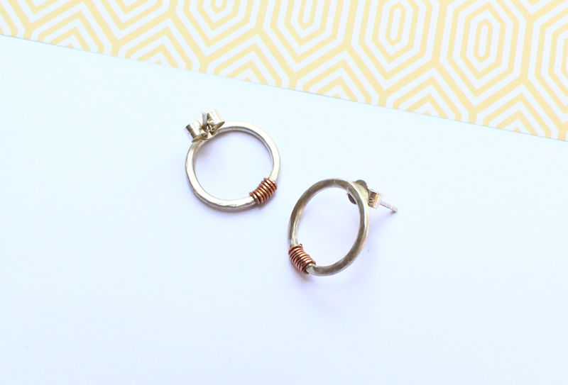 Silver and Copper Hoop Earrings - product image