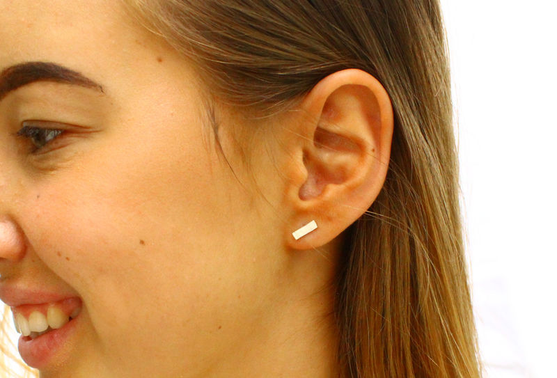 Silver Bar Minimalist Earrings  - product image